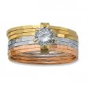 Orotex Gold Layered Tri-color Semanario Ring