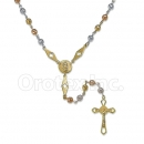 Orotex Gold Layered 4mm Filligree Tri-Color Rosary