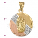 CH27-13  Gold Layered Tri-color Guadalupe Charm