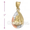 CH33-5 Gold Layered Tri-Color Charm