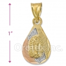 CH33-6  Gold Layered Tri-color Guadalupe Charm