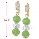 091001 Gold Layered Crystal Long Earrings