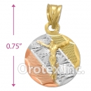 CH26-11 Gold Layered Tri-Color Charm