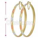 EB041 Gold Layered Tri-Color Hoop Earrings
