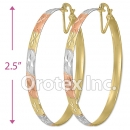 EB043 Gold Layered Tri-Color Hoop Earrings