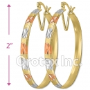 EB045 Gold Layered Tri-Color Hoop Earrings