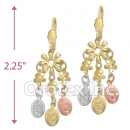 ECH016 Gold Layered Tri-Color Chandelier Earrings