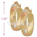 EH022 Gold Layered Tri-color Hoop Earrings
