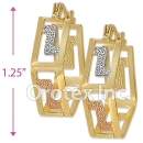 EH028 Gold Layered Tri-color Hoop Earrings