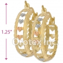 EH031 Gold Layered Tri-color Hoop Earrings