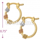 EH039 Gold Layered Tri-color Hoop Earrings