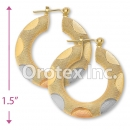 EH041 Gold Layered Tri-color Hoop Earrings