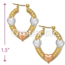 EH042 Gold Layered Tri-color Hoop Earrings