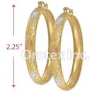 EH043 Gold Layered Tri-color Hoop Earrings