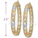EH044 Gold Layered Tri-color Hoop Earrings