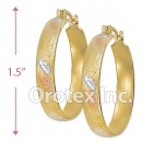 EH051 Gold Layered Tri-color Hoop Earrings