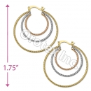 EH063 Gold Layered Tri-Color Hoop Earrings