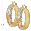 EH074 Gold Layered Tri-color Hoop Earrings