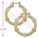 EH088 Gold Layered Tri-color Hoop Earrings