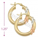 EH090 Gold Layered Tri-color Hoop Earrings