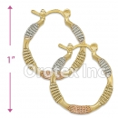EH091 Gold Layered Tri-Color Hoop Earrings