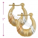 EH092 Gold Layered Tri-color Hoop Earrings