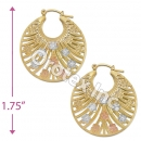 EH096 Gold Layered Tri-color Hoop Earrings