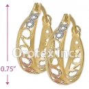 EH120 Gold Layered Tri-Color Hoop Earrings