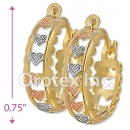 EH121 Gold Layered Tri-Color Hoop Earrings
