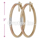 EH135 Gold Layered Tri-Color Hoop Earrings