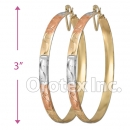 EH145 Gold Layered Tri-Color Hoop Earrings