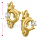 EH286 Orotex Gold Layered Fancy CZ Huggies Earrings