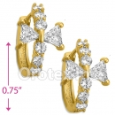 EH287 Orotex Gold Layered Fancy CZ Huggies Earrings