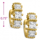 EH289 Orotex Gold Layered Fancy CZ Huggies Earrings