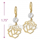 EL 233 Gold Layered CZ Long Earrings