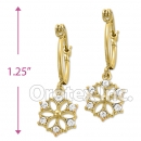 EL 288 Gold Layered CZ Long Earrings