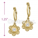 EL 294 Gold Layered CZ Long Earrings