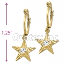 EL 295 Gold Layered CZ Long Earrings