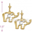 EL001 Gold Layered Two Tone Long Earrings