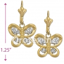 EL002 Gold Layered CZ Long Earrings