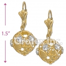 EL004 Gold Layered CZ Long Earrings
