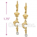 EL007 Gold Layered CZ Long Earrings