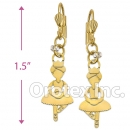 EL008 Gold Layered CZ Long Earrings