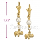 EL010 Gold Layered Pearl Long Earrings