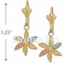 EL015 Gold Layered Tri-Color Long Earrings