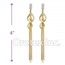 El015C Gold Layered CZ Long Earrings