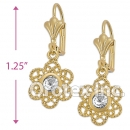 EL017 Gold Layered CZ Long Earrings
