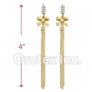 EL022C Gold Layered CZ Long Earrings
