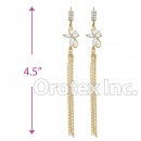 EL023C Gold Layered CZ Long Earrings