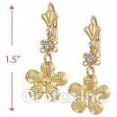 EL024 Gold Layered CZ Long Earrings